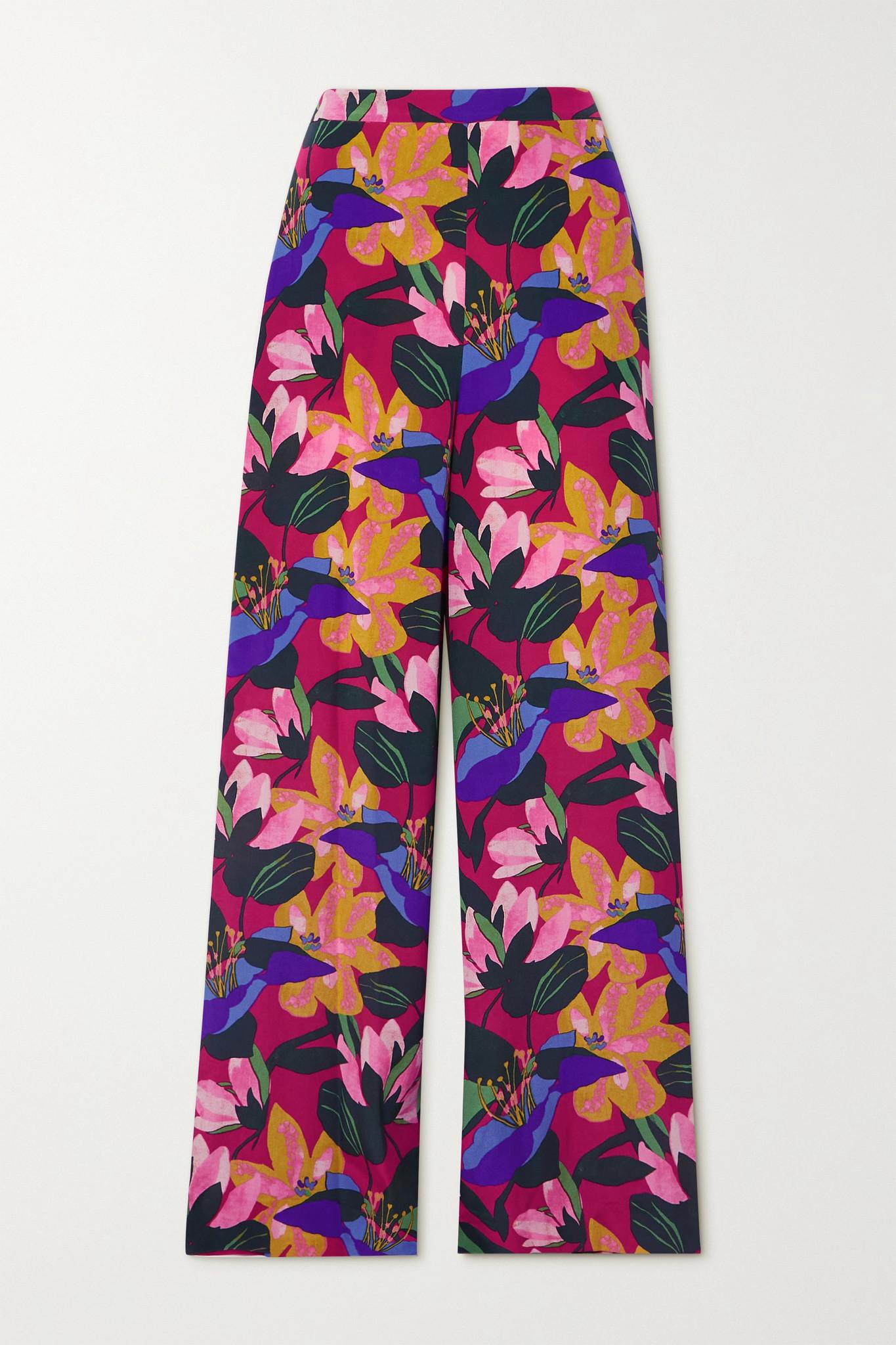 DIANE VON FURSTENBERG - Pauline Floral-print Silk Crepe De Chine Wide-leg Pants - Pink - US8