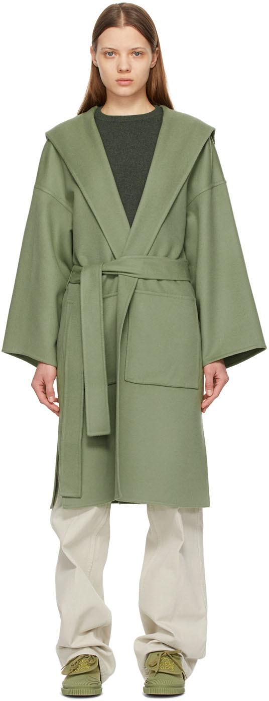 Loewe 绿色束带连帽大衣