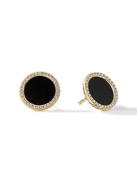 DY Elements® Button Earrings In 14K Yellow Gold With Black Onyx With Diamonds