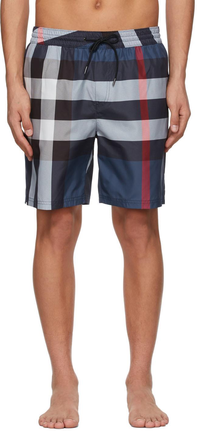 Burberry 海军蓝 Guildes 格纹泳裤