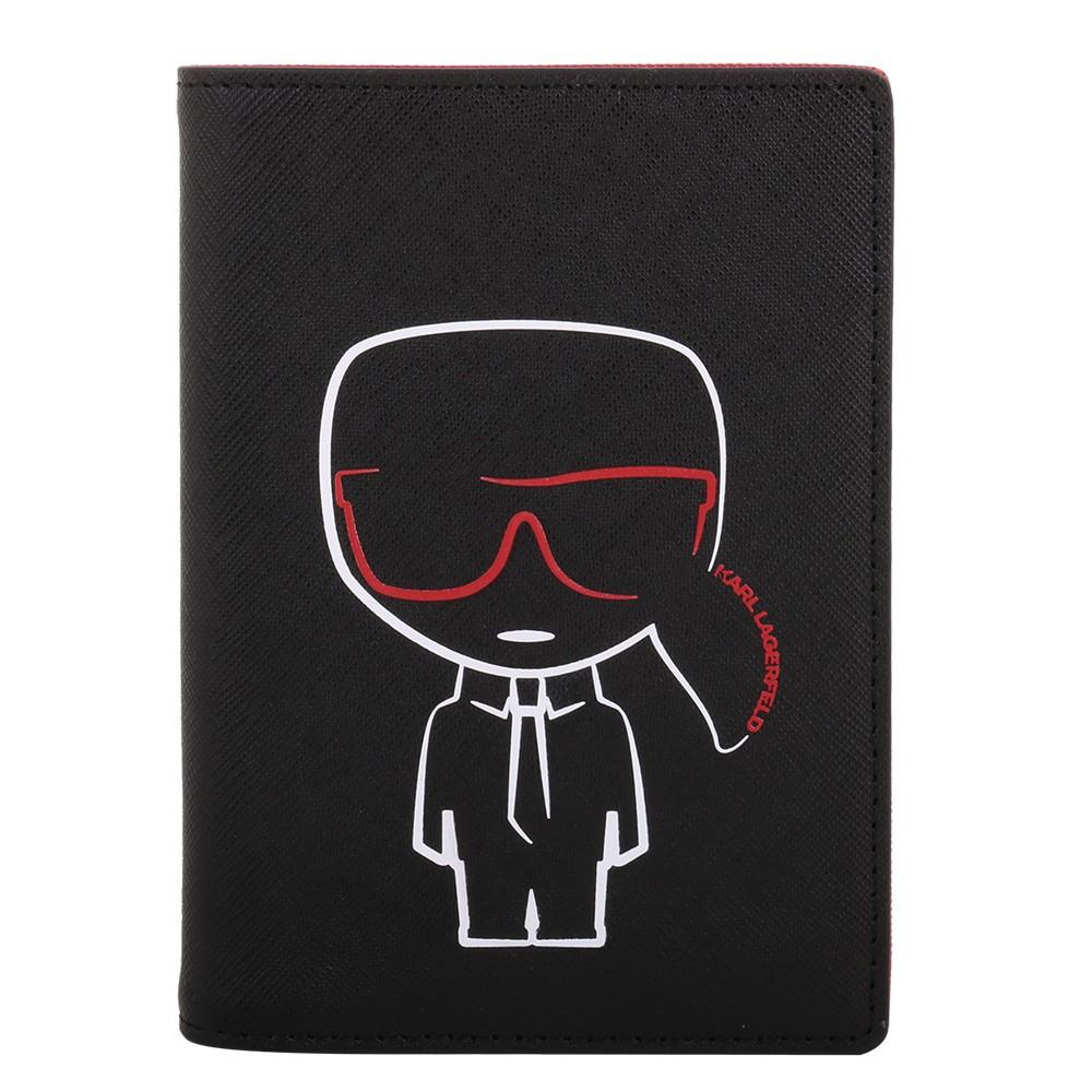 KARL LAGERFELD- 膠框印老佛爺圖案防刮皮革護照夾(黑)