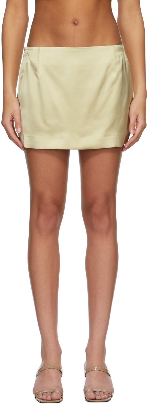 Gauge81 米色 Tulua 重磅缎面短裙
