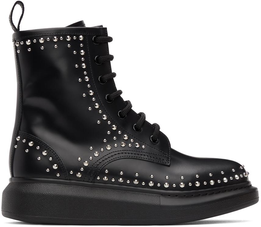 Alexander McQueen 黑色铆钉皮革踝靴