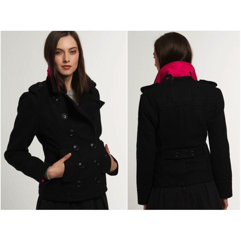 跩狗嚴選 極度乾燥 Superdry Bridge pea coat 羊毛 翻領 雙排扣 外套 短版大衣 黑色