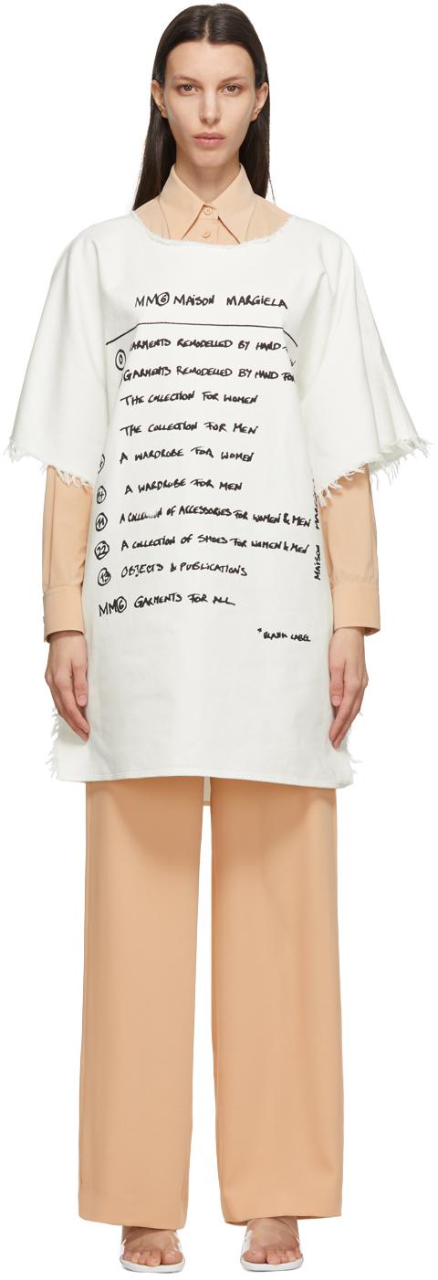 MM6 Maison Margiela 灰白色徽标牛仔连衣裙
