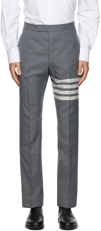 Thom Browne 灰色 4-Bar Backstrap 羊毛长裤