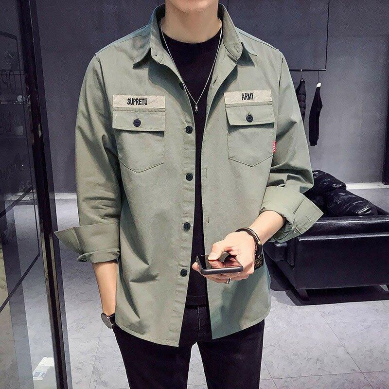棉工裝襯衫男2021型男風春裝新款工裝長袖襯衫男中大尺碼休閒外套襯衣