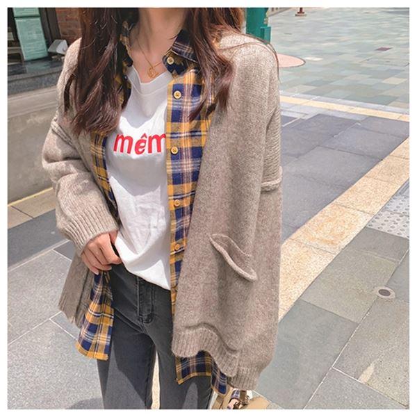 慵懶風毛衣外套簡約針織百搭寬鬆開襟外套(4色)-優美依戀