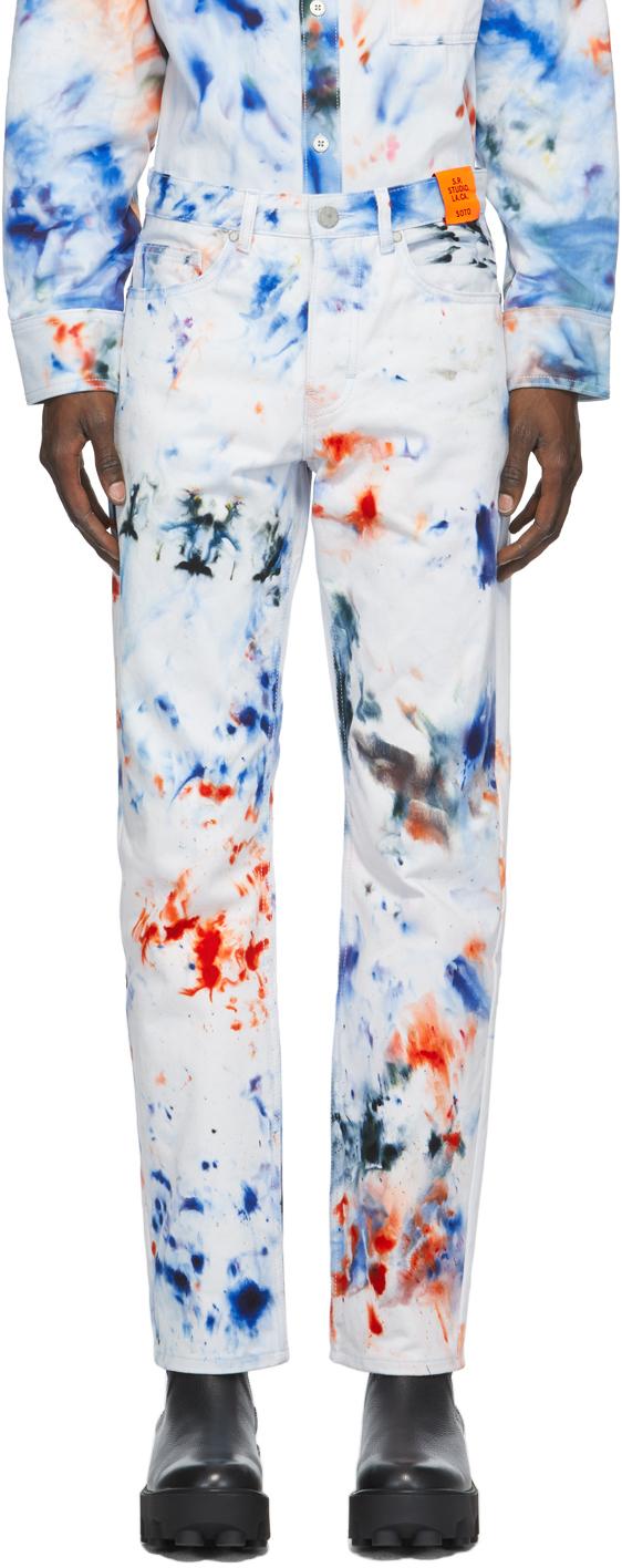 S.R. STUDIO. LA. CA. 白色 SOTO 手染牛仔裤