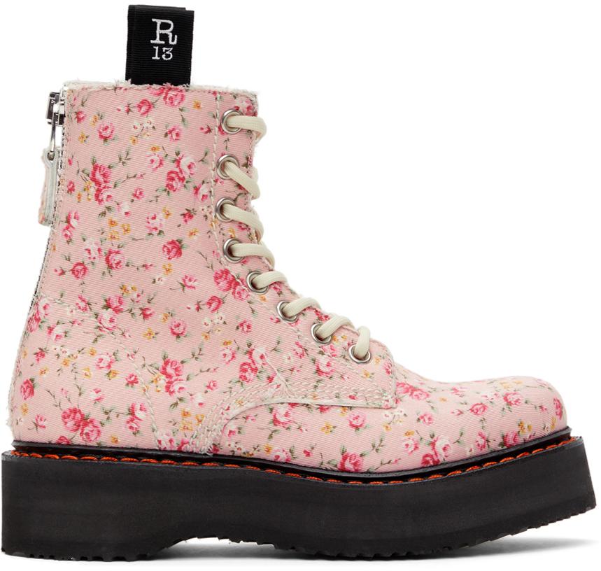 R13 粉色 Floral 踝靴