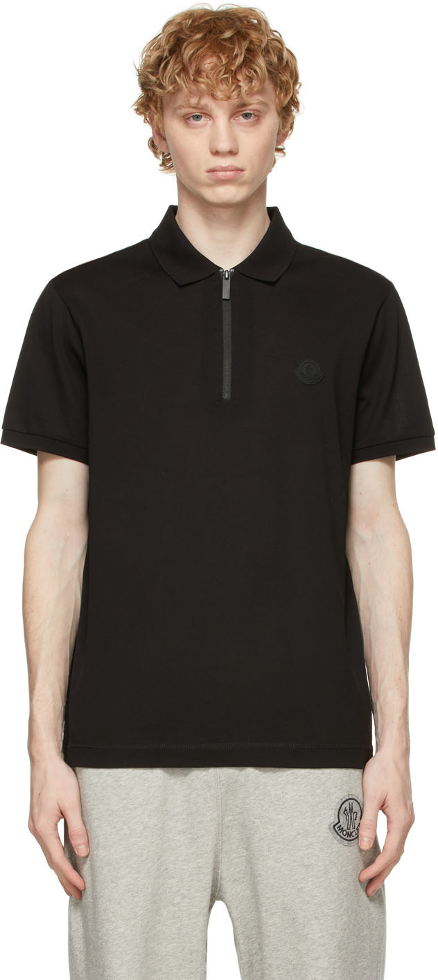 Moncler 黑色徽标拉链 Polo 衫