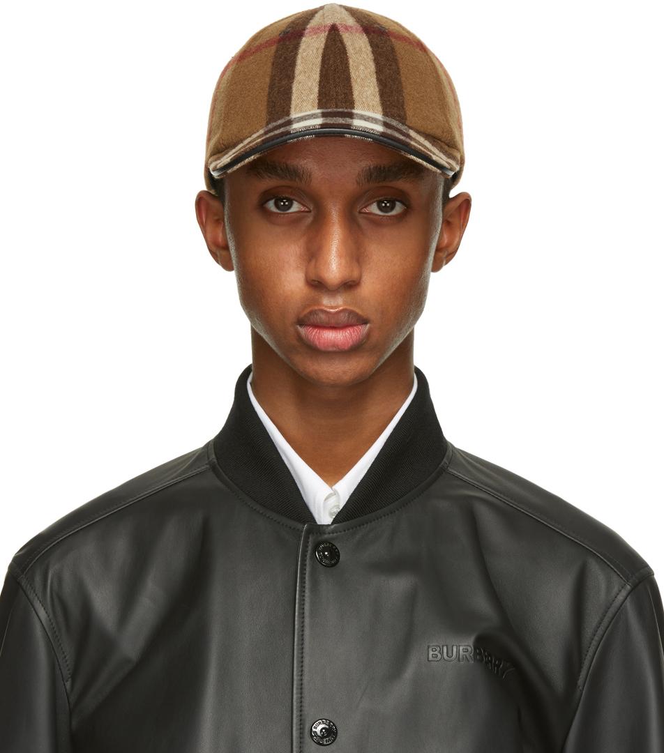 Burberry 棕色格纹羊毛棒球帽