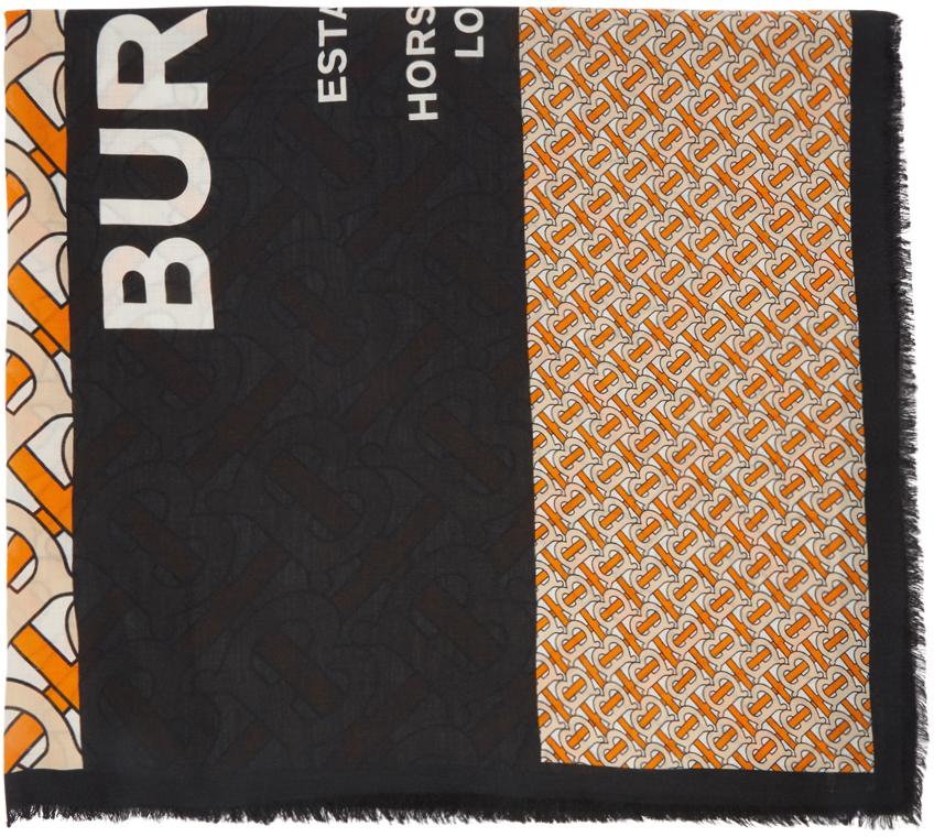 Burberry 橙色 & 黑色大号 Monogram 羊绒围巾