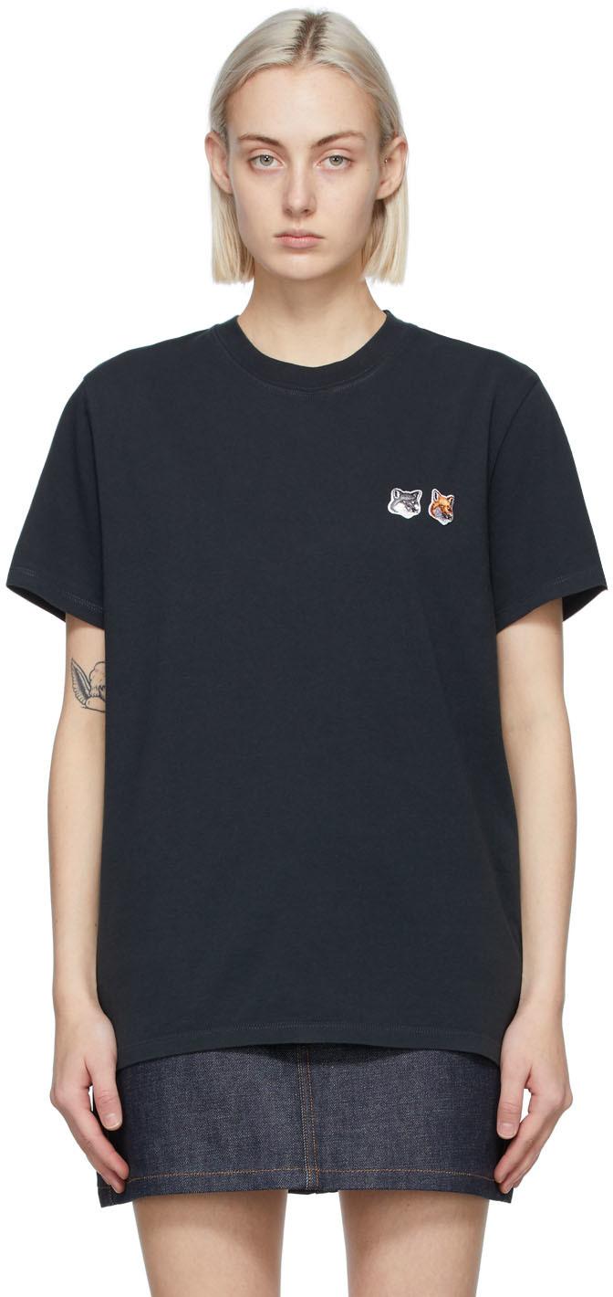 Maison Kitsuné 黑色 Double Fox Head Patch Classic T 恤