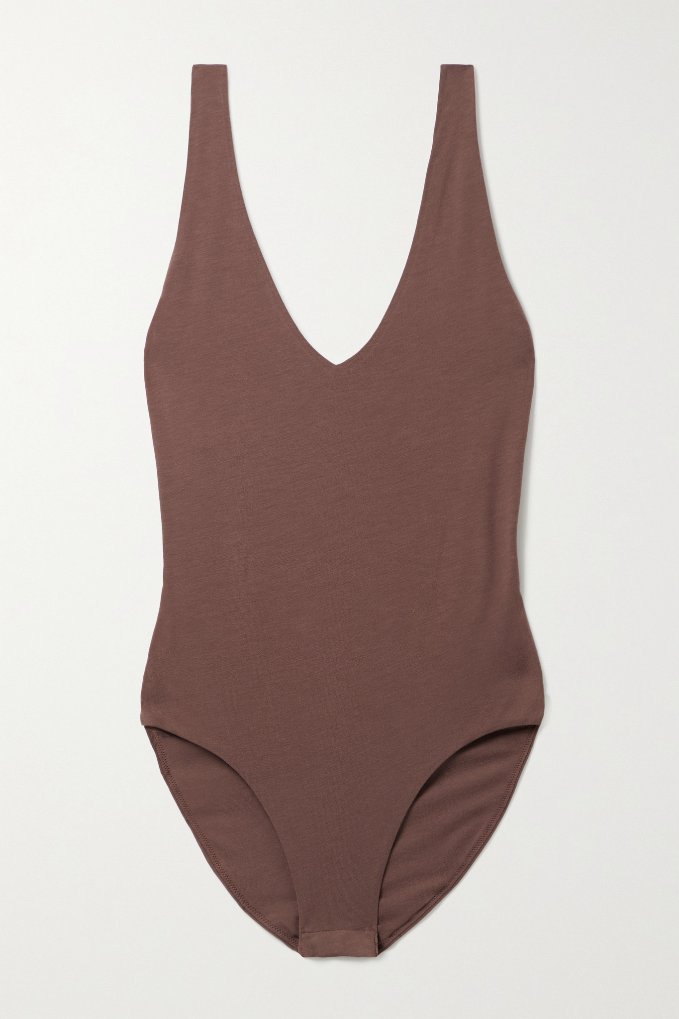 SKIN - Selene Stretch Organic Pima Cotton-jersey Bodysuit - Brown - medium