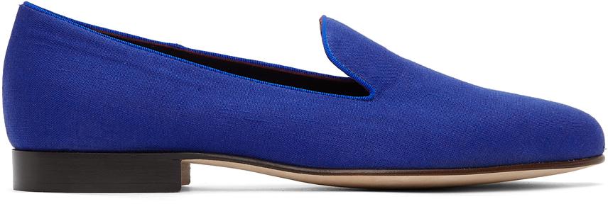 Ralph Lauren Purple Label 蓝色 Alonzo 亚麻乐福鞋
