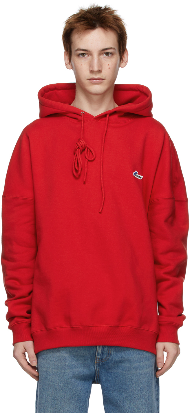 We11done 红色刺绣徽标连帽衫