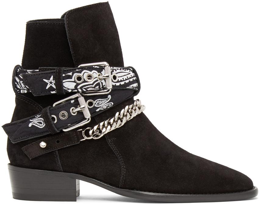 AMIRI 黑色 Bandana Buckle 踝靴