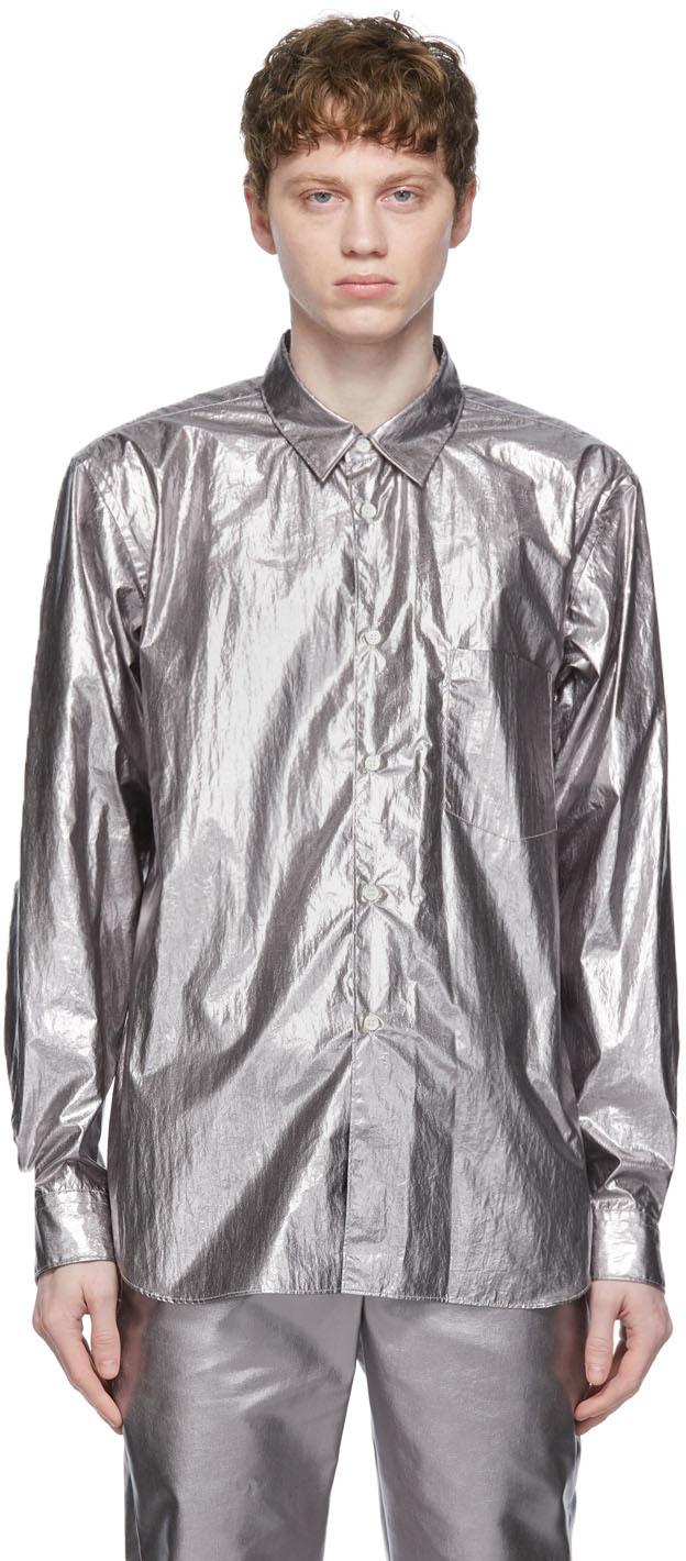 Comme des Garçons Homme Plus 银色 Lamé 衬衫