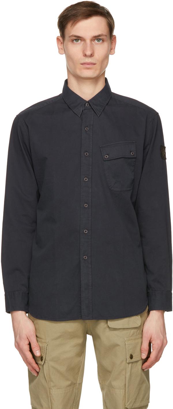 Belstaff 海军蓝 Pitch 斜纹衬衫