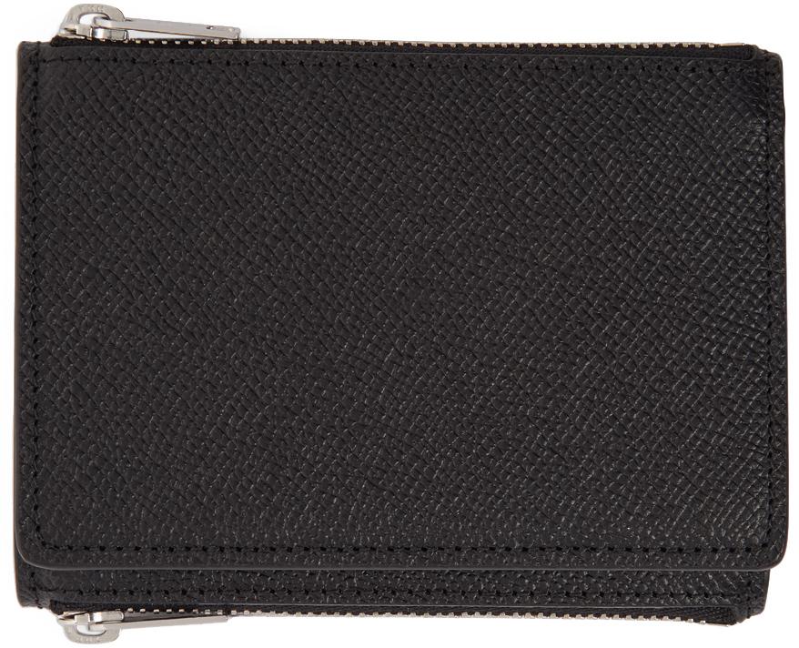 Maison Margiela 黑色粒面皮革钱包