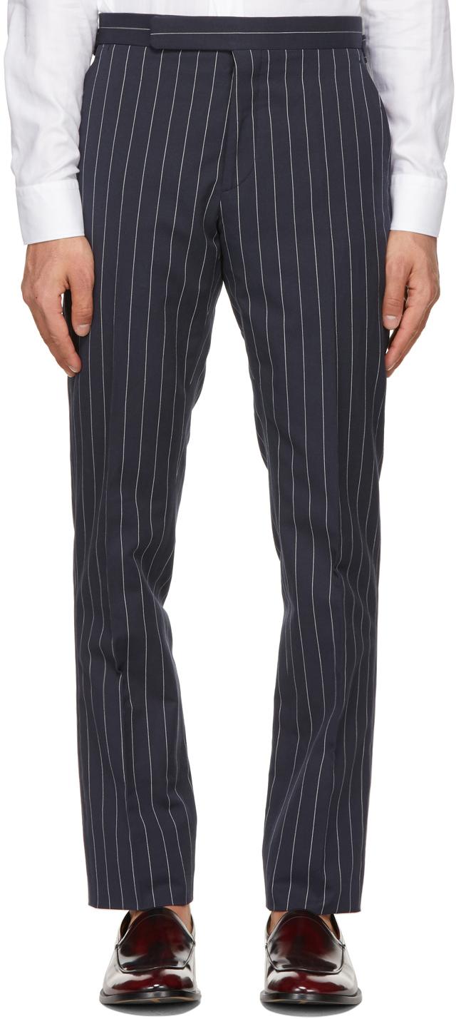 Ralph Lauren Purple Label 海军蓝 Gregory 条纹长裤