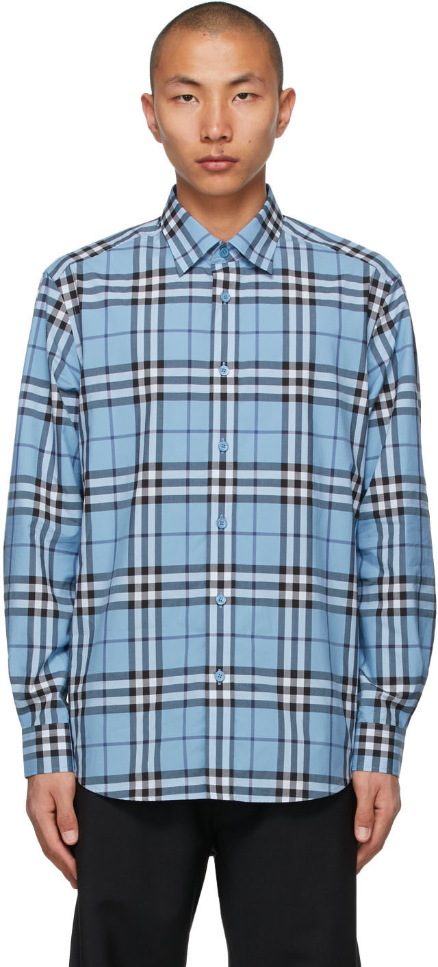 Burberry 蓝色格纹衬衫
