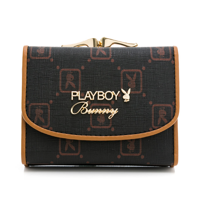 PLAYBOY - 三折式口金短夾 焦糖可可系列 - 咖啡色