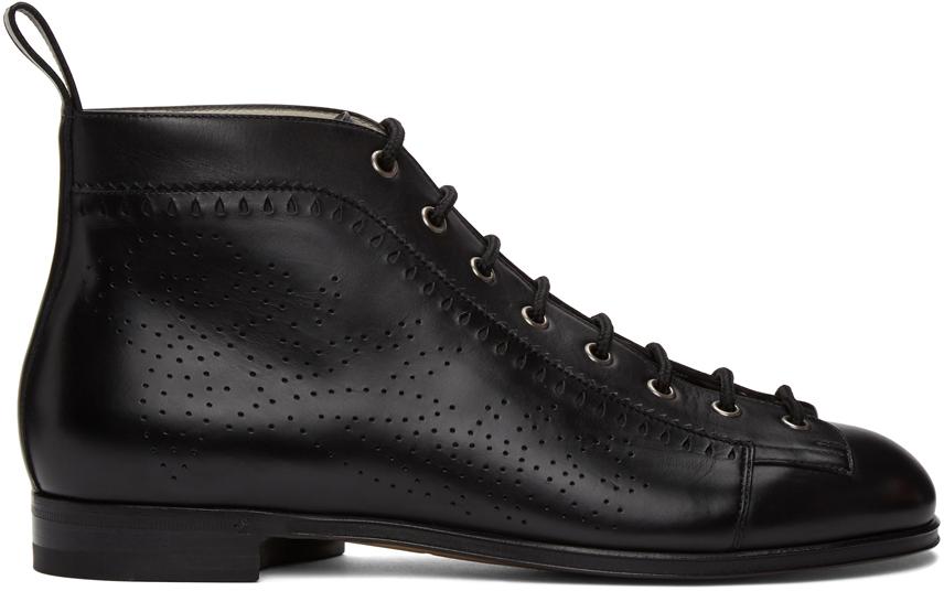 Gucci 黑色布洛克踝靴