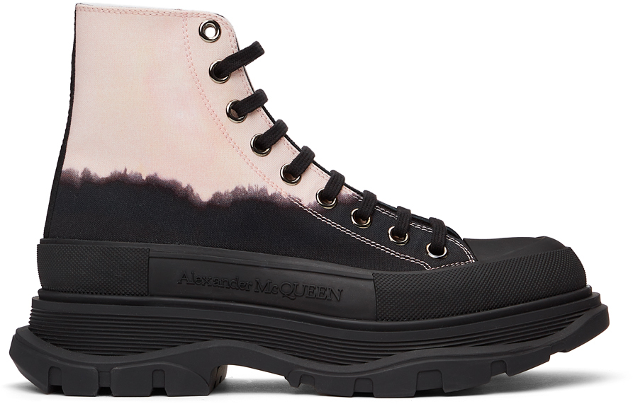 Alexander McQueen 黑色 & 粉色 Dipped Tread Slick 高帮运动鞋