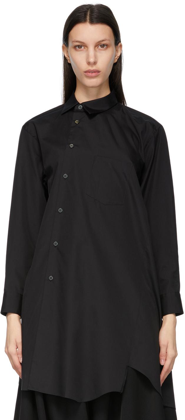 Comme des Garçons 黑色不对称衬衫连衣裙