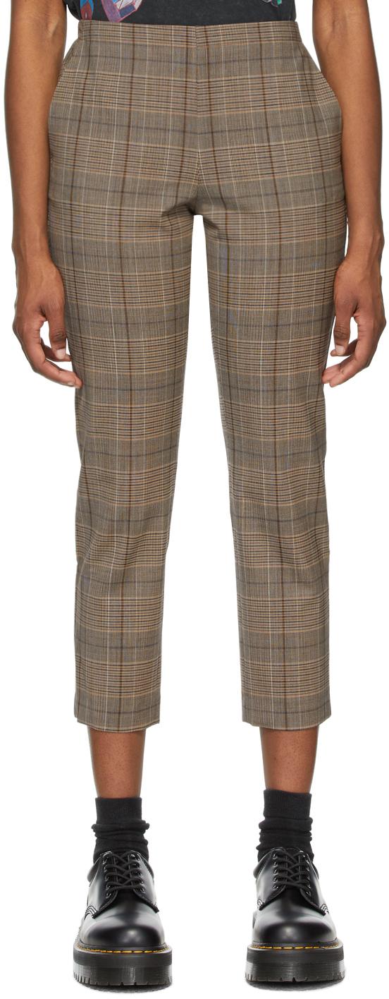 6397 棕色 Pull-On 格纹长裤