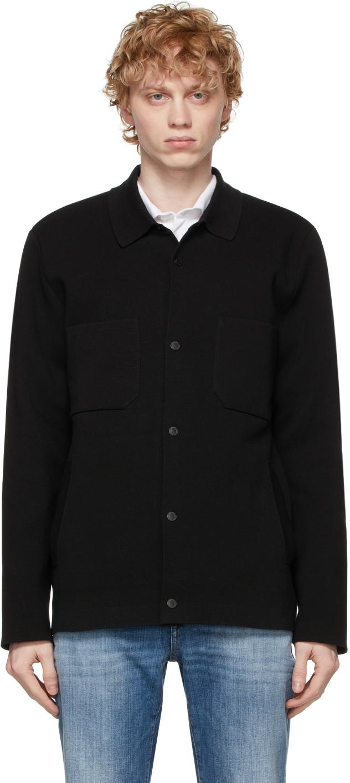 Z Zegna 黑色针织衬衫