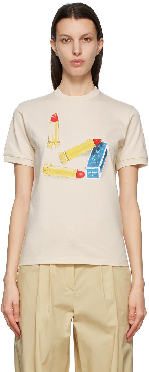 Lanvin 灰白色 Lipstick Scented T 恤