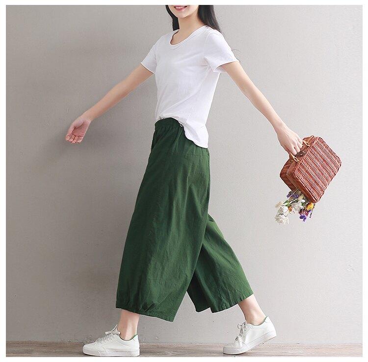 享瘦衣舍中大尺碼【B18200】日韓下擺鬆緊造型寬鬆九分長褲