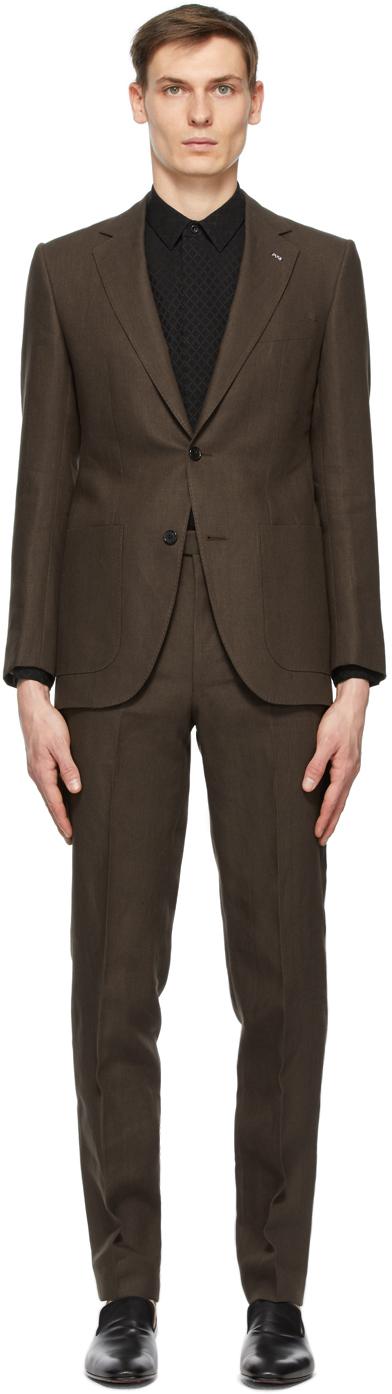Husbands 棕色亚麻单排扣西服套装