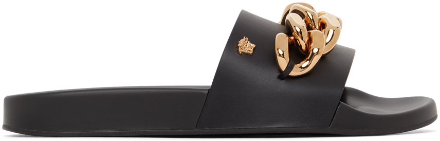 Versace 黑色 Medusa Chain 皮革拖鞋