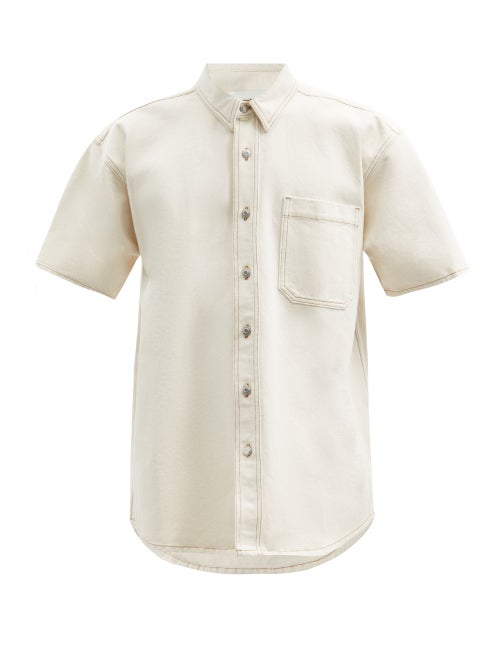 Nanushka - Avery Short-sleeved Organic-cotton Denim Shirt - Mens - Cream