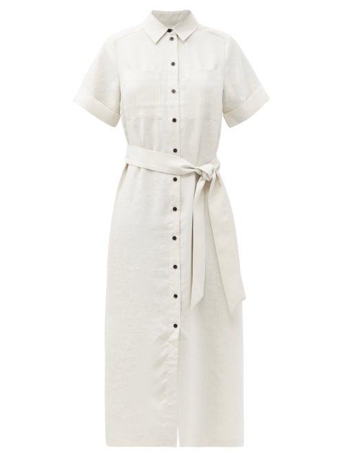 Cefinn - Lexi Belted Canvas Shirt Dress - Womens - Cream