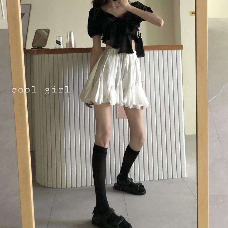 白色顯瘦蓬蓬A字裙女裝減齡短裙夏季韓版百搭高腰半身裙學生裙子