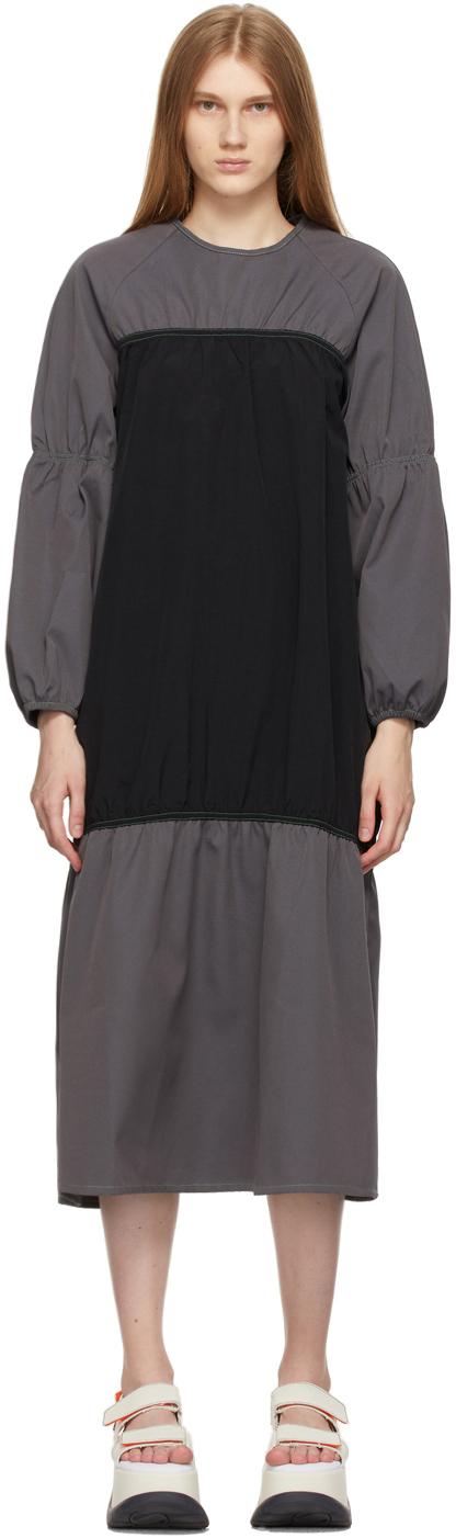 Sunnei 黑色 & 灰色拼色连衣裙