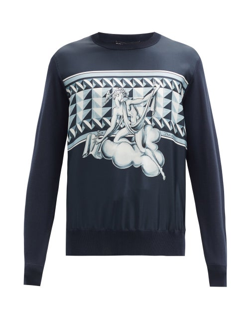 Dolce & Gabbana - Roman-print Silk Sweatshirt - Mens - Navy