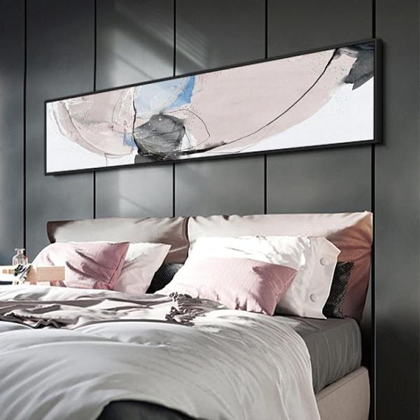 北歐風格臥室裝飾畫床頭抽像圖案掛畫樣板房橫幅牆畫43*153