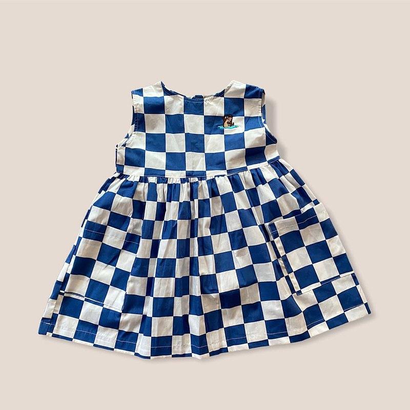 KiKi Otter藍色方格連衣裙,兩個口袋