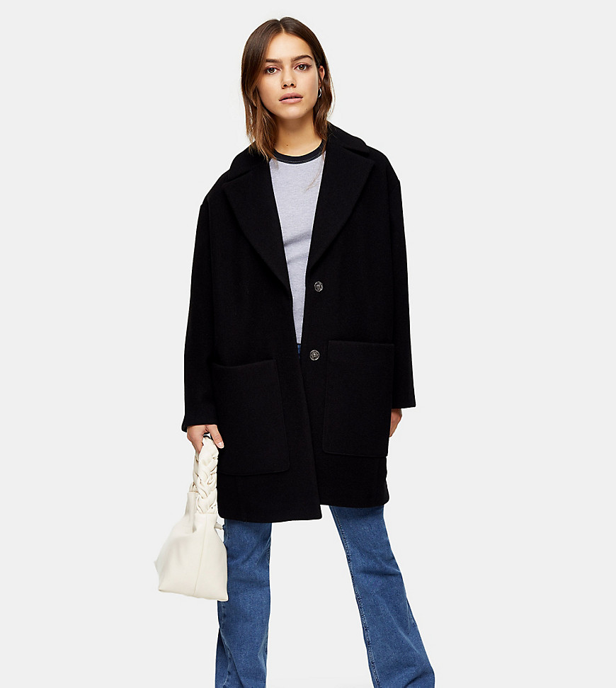 Topshop Petite coat in black