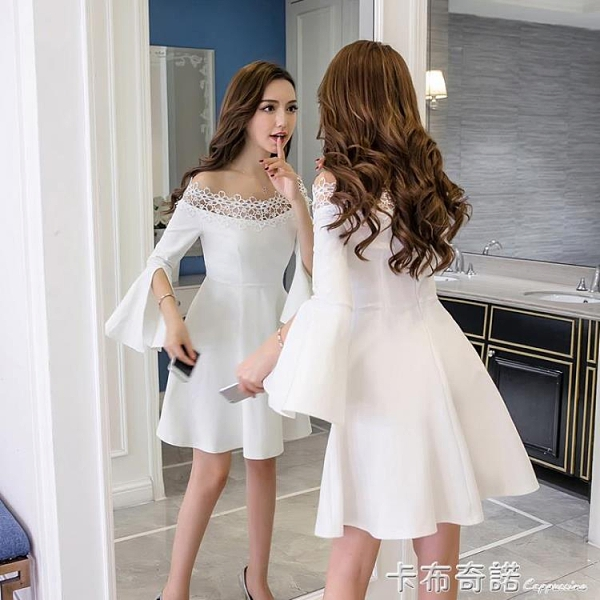 小禮服女春夏新款女裝名媛蓬蓬裙白色性感露肩一字肩洋裝女 卡布奇諾