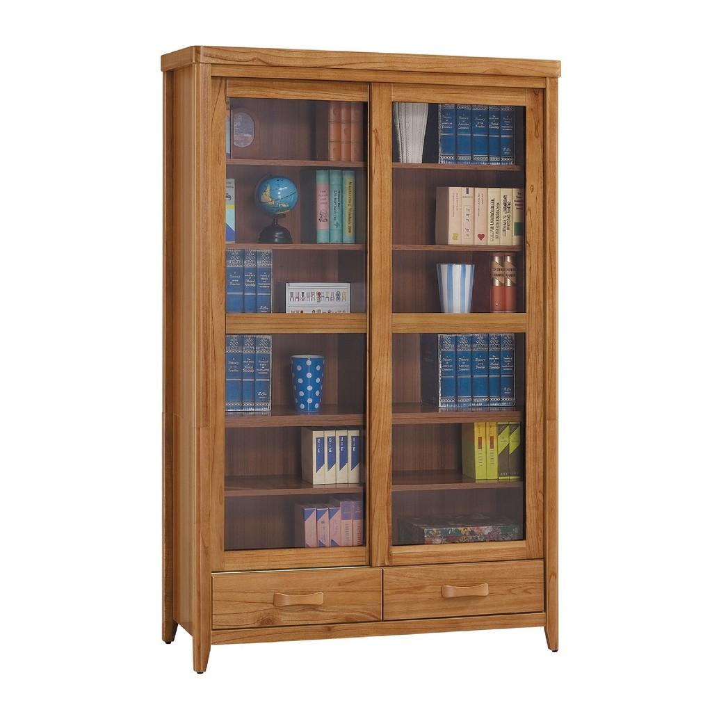 【122cm推門下抽書櫥-C754-3】北歐工業 置物櫃 玻璃實木 書房書櫃書架 櫥櫃 層架收納整理 【金滿屋】