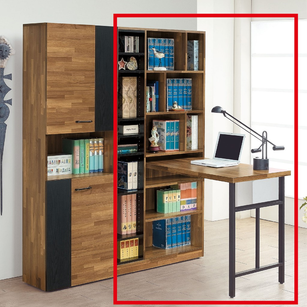 【90cm開放式L型書櫥-C740-6】北歐工業 置物櫃 玻璃實木 書房書櫃書架 櫥櫃 層架收納整理 【金滿屋】