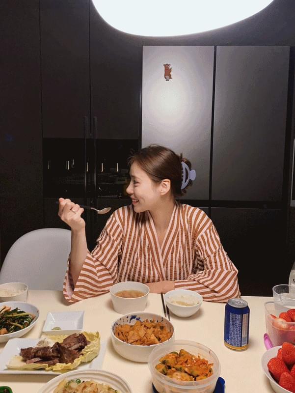 韓國空運 - Striped robe set 套裝
