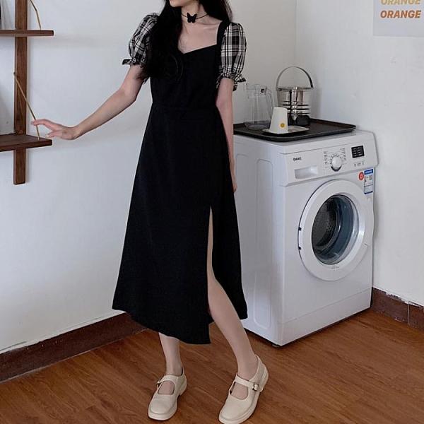 春裝大碼2021年赫本法式格子長裙胖MM顯瘦氣質減齡開叉方領連身裙 童趣屋